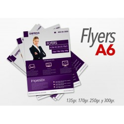Flyers color A6 10x15cm 1000 Unidades 1 cara 135gr