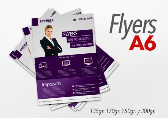 Flyers color A6 10x15cm 250 Unidades 2 caras 250gr