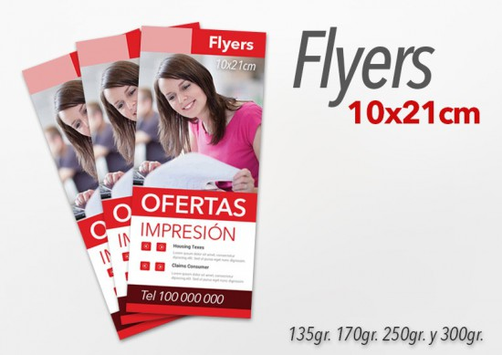 Flyers color 10x21cm 2000 Unidades 2 caras 135gr