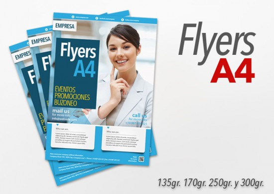 Flyers color A4 1000 Unidades 1 cara 135gr