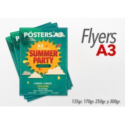 Flyers Color A3 200 Unidades 1 cara 135gr