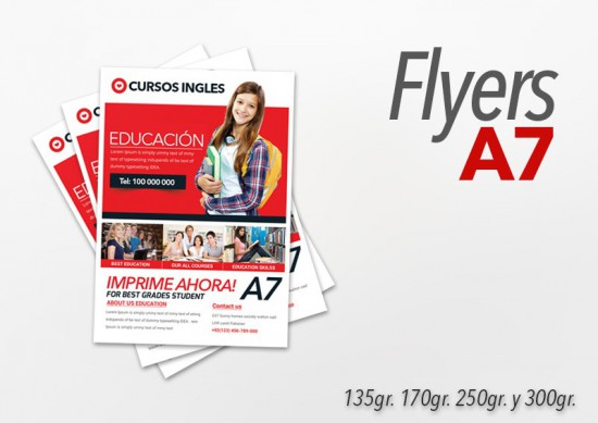 Flyers color 10x7.5cm 250 Unidades 2 caras 250gr
